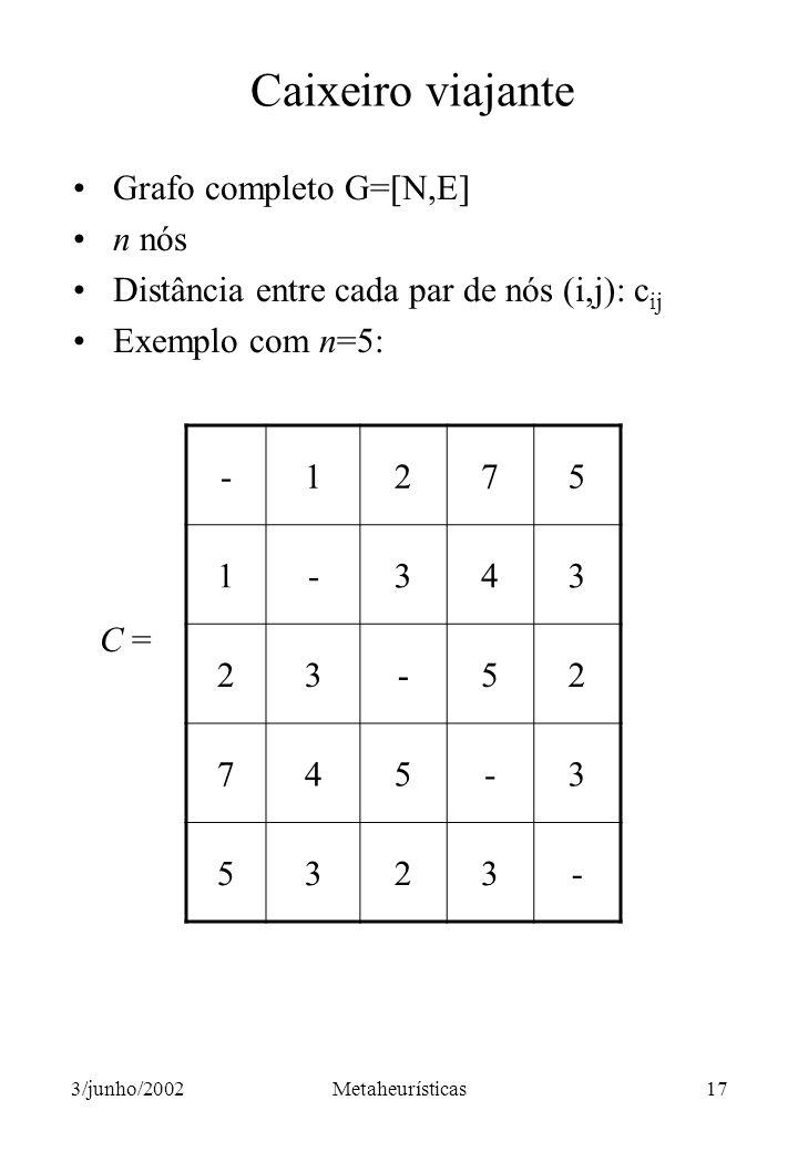 Caixeiro viajante Grafo completo G=[N,E] n nós